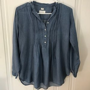 LOFT Softened Chambray Peasant Top S